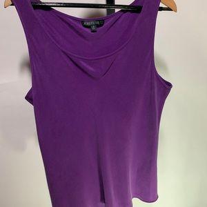 Lafayette 148 16 purple plum 100% silk draped tank